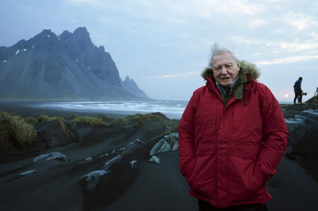 David Attenborough in Iceland for Seven Worlds, One Planet