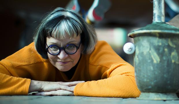 Programme Name: How To Be A Surrealist with Philippa Perry - TX: n/a - Episode: n/a (No. n/a) - Picture Shows: with a surreal sculpture she makes in the film. Philippa Perry - (C) BBC - Photographer: Screengrab