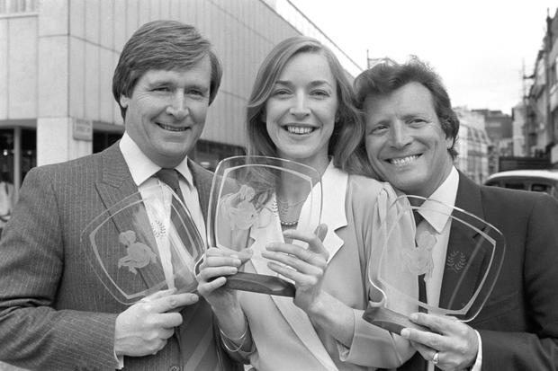 LOVE TRIANGLE: 'Coronation Street' actors William Roache (left), who played Ken Barlow and Johnny Briggs who played Mike Baldwin with Anne Kirkbride, who played Deirdre Barlow