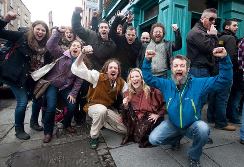 People queueing for auditions for TV Show Vikings in Temple Bar, Dublin