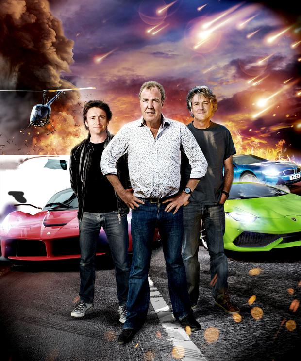 Former Top Gear hosts Richard Hammond, Jeremy Clarkson and James May