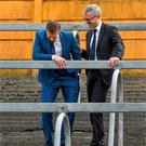 RTE pundit Joe Brolly shares a joke with GAA writer Tomas O Se at Semple Stadium in Thurles yesterday