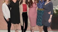 'Red Rock' actresses Denise McCormack, Andrea Irvine, India Mullen, Anne Skelly, Pandora McCormick and Jane McGrath at the launch of the TV3 autumn schedule yesterday