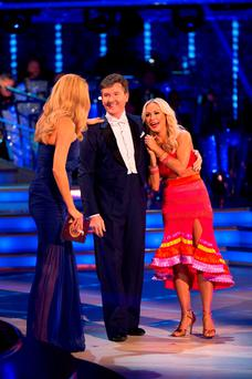 Tess Daly, Daniel O'Donnell and his dance partner Kristina Rihanoff during recording for the launch for this year's series of Strictly Come Dancing