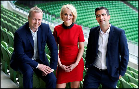 IT'S A FUNNY OLD GAME: Pictured at the TV3 autumn launch at the Aviva Stadium are Rugby World Cup (RWC) panellist Matt Cooper, presenter Sinead Kissane and RWC sports presenter Tommy Martin