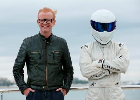 Presenter Chris Evans alongside 'The Stig'