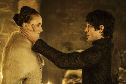 Sophie Turner as Sansa Stark and Iwan Rheon as Ramsay Bolton in the infamous wedding night scene from Game of Thrones