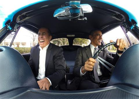 Barack Obama and Jerry Seinfeld in a still from Comedians In Cars Getting Coffee