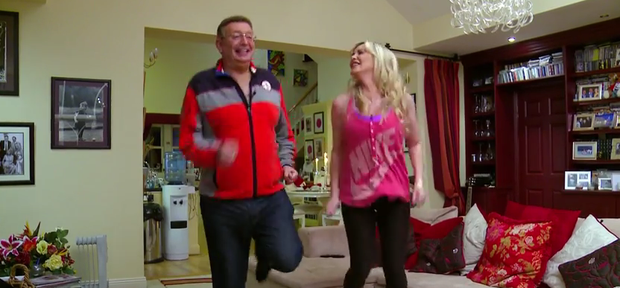 Gerald Kean and wife Lisa Murphy demonstrate simple at-home exercises to follow during the ad breaks of Operation Transformation.