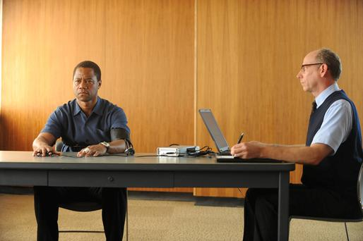 Facing the polygraph: Cuba Gooding Jr (left) as OJ in The People v OJ Simpson: American Crime Story.