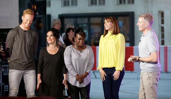 The One Show hosts Alex Jones (second right) and Patrick Kielty (right) with Greg Rutherford (left), Lesley Joseph (second left) and Tameka Empson (centre) outside BBC Broadcasting House in London after it was confirmed that they will be a contestants on Strictly Come Dancing, which returns in September. Photo: PA