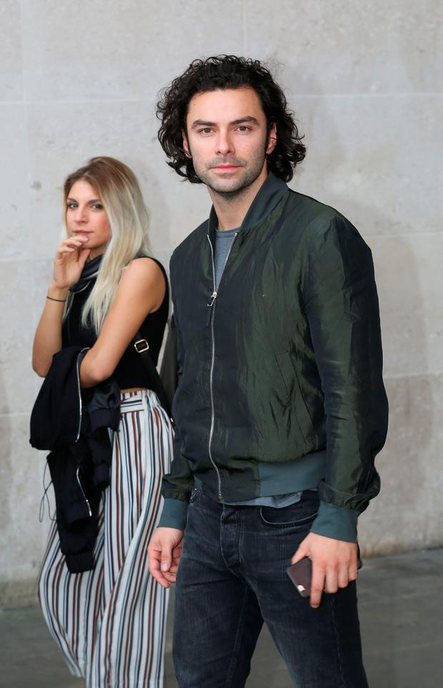 Poldark star Aidan Turner at the BBC yesterday. Turner dismissed speculation he will be the next 007. Photo: PA