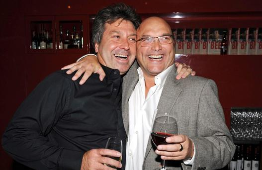 Chef John Torode (r) poses with fellow Masterchef presenter Gregg Wallace as he launches his new book 'Beef' at Smith's of Smithfield, Charterhouse Street, in central London.