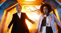 For use in UK, Ireland or Benelux countries only Undated BBC handout photo of Peter Capaldi as Doctor Who with Pearl Mackie as Bill Potts in episode one of Doctor Who.