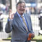 Actor Stephen Fry arriving at a Service of Thanksgiving for Lord Snowdon at St Margaret's Church, Westminster Abbey in central London.