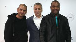 Chris Harris (left), Matt LeBlanc (centre) and Rory Reid (Peter Byrne/PA)