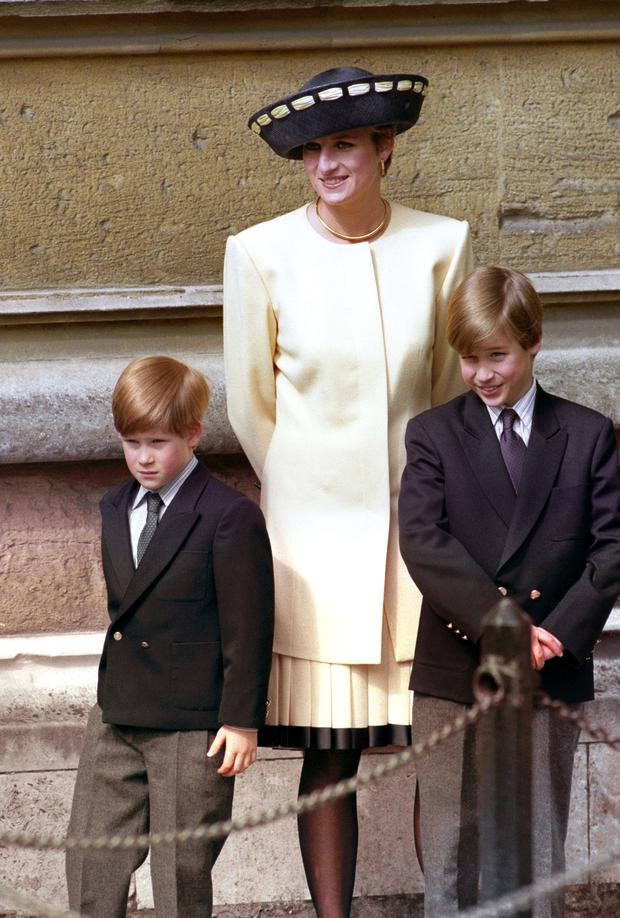 Diana, the Princess of Wales with her sons, Princes William and Harry in 1992 (Martin Keene/PA)