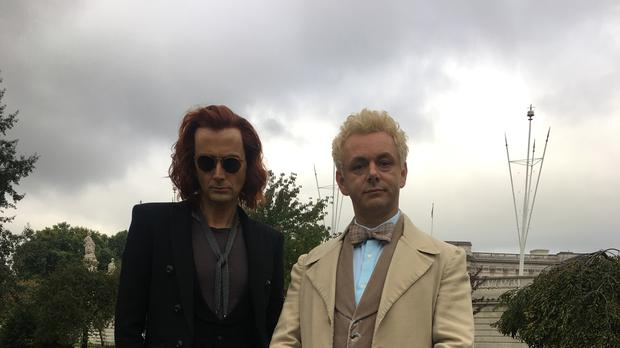 David Tennant and Michael Sheen on set for Good Omens.