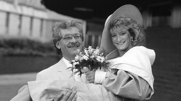 Athlete Donna Hartley and actor Bobby Knutt leave Sheffield Registry Office following their wedding.