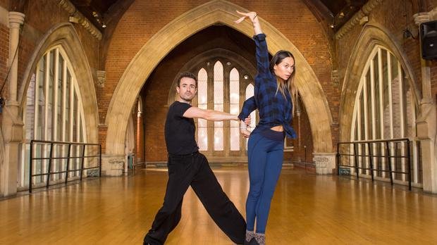 Joe McFadden and Katya Jones at a studio in London during rehearsals for BBC's Strictly Come Dancing