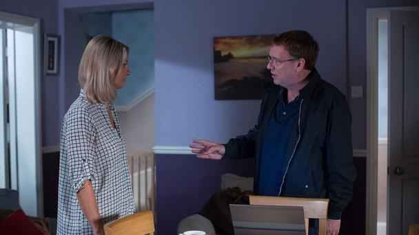 Kathy and Ian deep in discussion as he searches for Jane