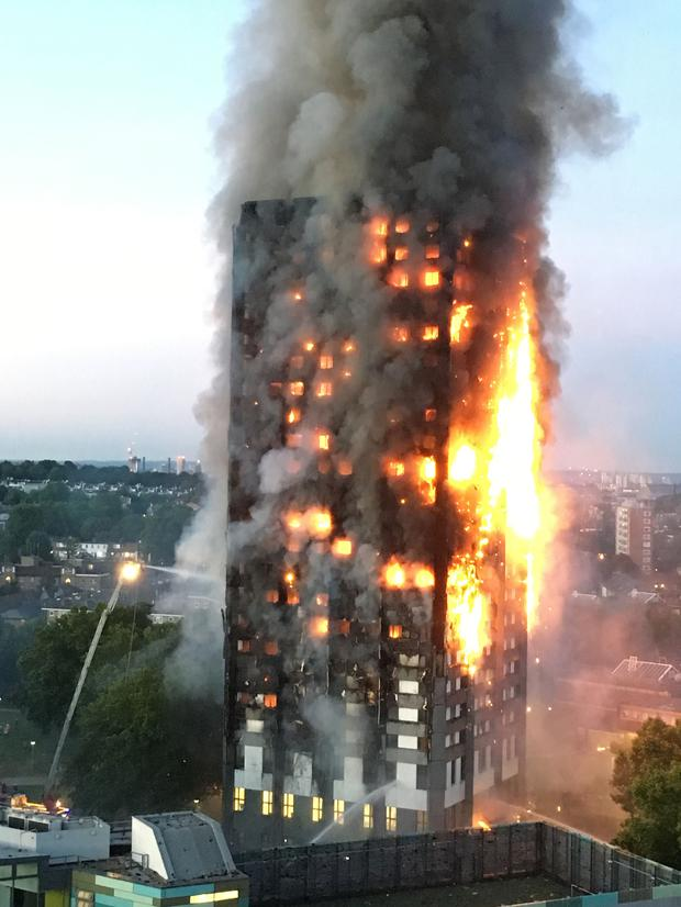 Fire engulfs Grenfell Tower in west London
