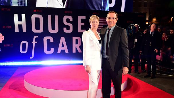 Spacey and co-star Robin Wright at a previous House of Cards launch (Ian West/PA)