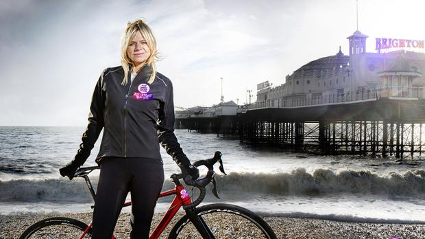 Zoe Ball took a tumble during the third day of the challenge (Steve Schofield/Sport Relief)