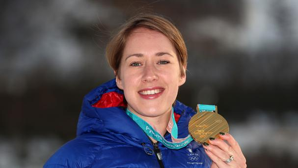 Great Britain's Lizzy Yarnold with her gold medal (Mike Egerton/PA)