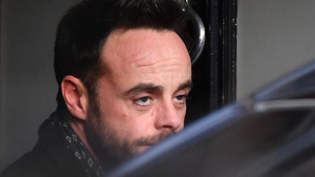 Ant McPartlin leaving a house in west London after he was interviewed by police (John Stillwell/PA)