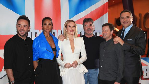(from left) Anthony McPartlin, Alesha Dixon, Amanda Holden, Simon Cowell, Declan Donnelly and David Walliams (Peter Byrne/PA)