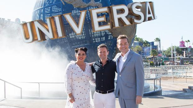 Scarlett Moffatt, Declan Donnelly and Stephen Mulhern during filming in Universal Orlando Resort in Florida for the finale of Saturday Night Takeaway. (ITV)