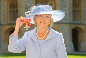Mary Berry after she became a Commander of the British Empire by the Prince of Wales (Dominic Lipinski/PA)