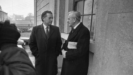 Richard Flynn (left), whose account of the death of Fr Niall Molloy went uncontested, with his solicitor in 1985