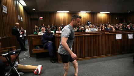 Oscar Pistorius walks across the courtroom without his prosthetic legs during his resentencing hearing in June 2016. Picture by Siphiwe Sibeko/Reuters
