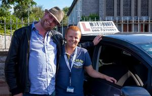 'L of a ride: Fred Cooke (left) in his learning-to-drive reality show