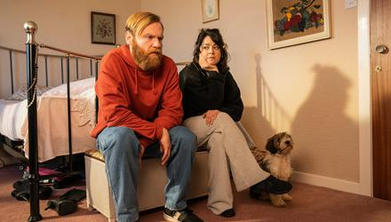 Frank (Brian Gleeson) and Aine (Sarah Greene) in Frank Of Ireland