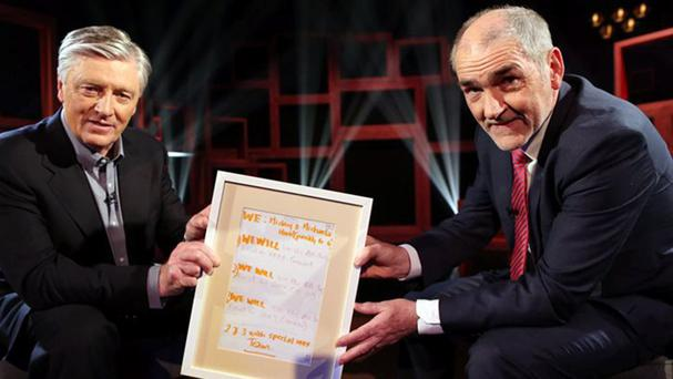 Back in the game: Pat Kenny interviewed Mickey Harte for his debut 'In the Round' on UTV Ireland.
