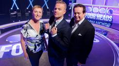 Ploughing on: Nicky Byrne hosts Four Heads with celebrity team captains Majella O'Donnell and Marty Morrissey. Photo: Andres Poveda