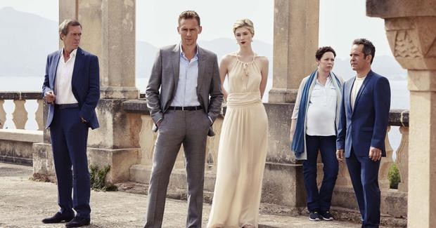Hugh Laurie (left) with fellow cast members in The Night Manager.