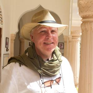 On tour: Francis Brennan was his usually flamboyant self as he guided the 12 volunteers around India