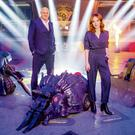 Geek chic: Irish hosts Dara and Angela on the set of Robot Wars
