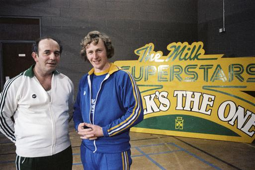 In the running: Fine Gael TDs John Donnellan (left) and future Taoiseach Enda Kenny, during the filming of RTÉ Television's 'The Superstars' competition in 1979