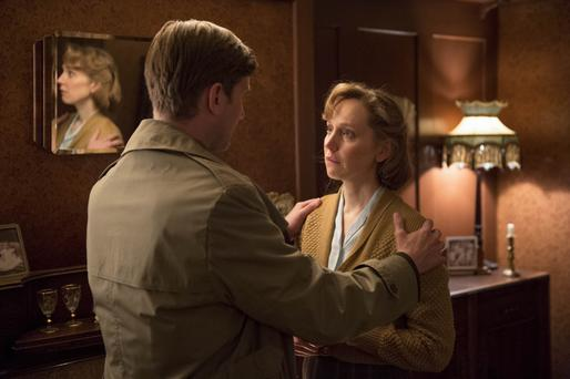Comforting: Aaron Staton as Capt Dreyfuss and Hattie Morahan as Rose in My Mother and Other Strangers
