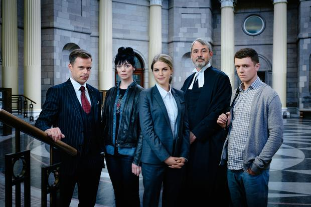 Dublin legal eagles: (from left) Rory Keenan as Eric, Fiona O'Shaughnessy as Meg, Amy Huberman as Tara, Neil Morrissey as Vincent and Emmet Byrne as Ray in new RTÉ drama Striking Out