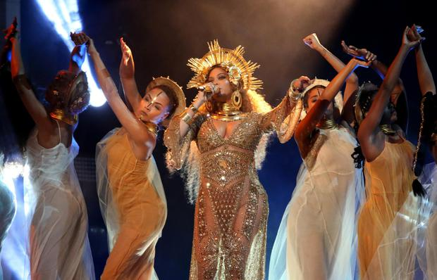 Shimmering: A pregnant Beyoncé stole the show at the Grammys