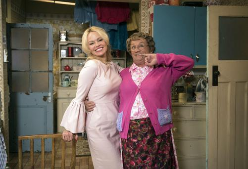 Game for a laugh: Pamela Anderson with Mrs Brown