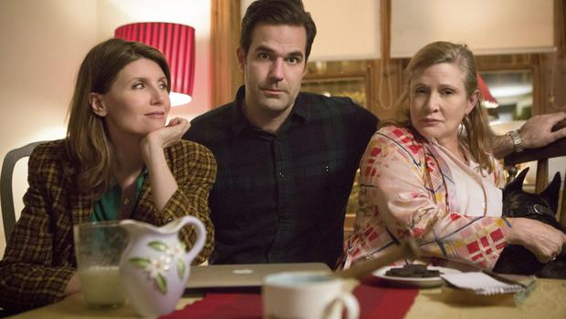 Final curtain: Catastrophe cast Sharon Horgan, Rob Delaney and the late Carrie Fisher, who appeared in her last screen role