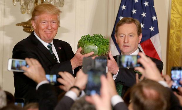 In defence of the 'illegals'': Taoiseach Enda Kenny presents US President Donald Trump with the traditional bowl of shamrock in the White House for St Patrick's Day. Photo: Gerry Mooney