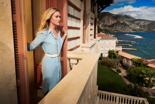 Cashing in: Julia Stiles plays American art dealer Georgina in the stylish but disappointing Neil Jordan-directed first episode of Riviera